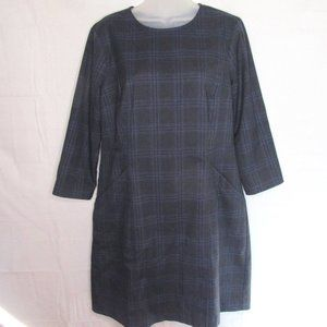 "Lands"" End Navy Plaid Dress"